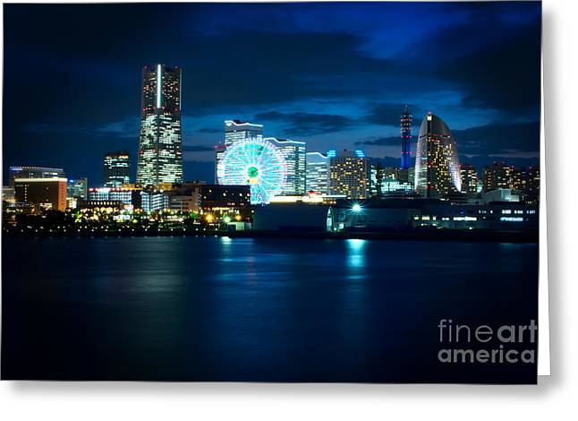 Buildings By The Ocean Greeting Cards - Yokohama Minatomirai at Night Greeting Card by Beverly Claire Kaiya