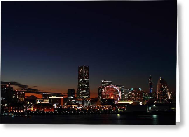 """japan City"" Greeting Cards - Yokohama Night Life Greeting Card by Mountain Dreams"