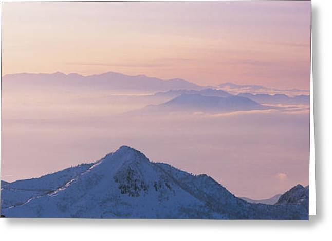 Snow Capped Greeting Cards - Yokoteyama Shiga Kogen Nagano Japan Greeting Card by Panoramic Images