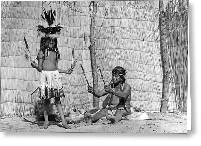 Male Native American Standing Greeting Cards - Yokut Medicine Man Greeting Card by Underwood Archives