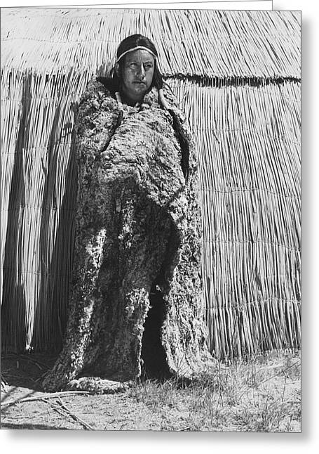 Male Native American Standing Greeting Cards - Yokut Rabbit Blanket Greeting Card by Underwood Archives