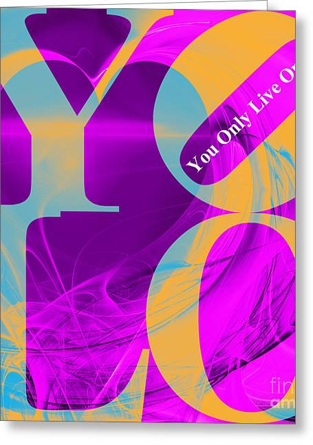 Sizes Greeting Cards - YOLO - You Only Live Once 20140125 Fractal Heart v1 Greeting Card by Wingsdomain Art and Photography