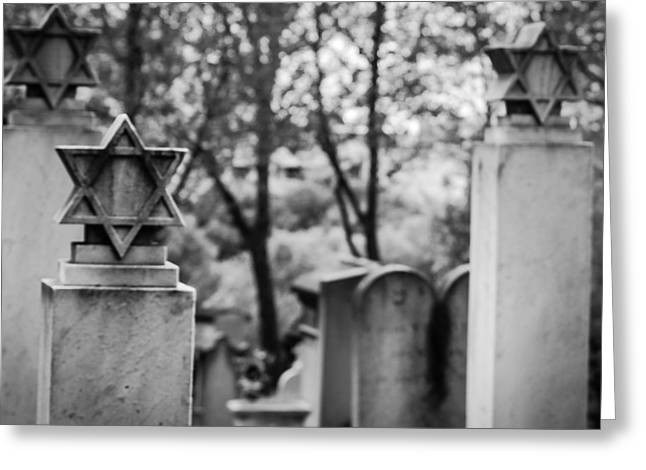 Cemeteries Of Paris Greeting Cards - YomHaShoah Greeting Card by Molly Grabill