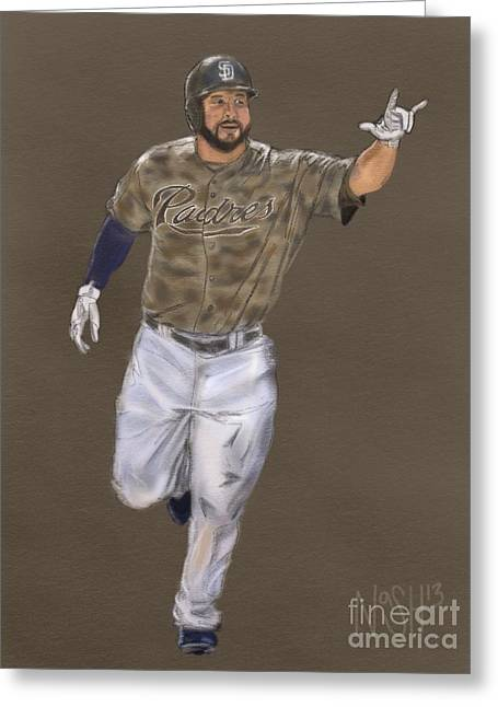National Past Time Greeting Cards - Yonder Alonso Greeting Card by Jeremy Nash