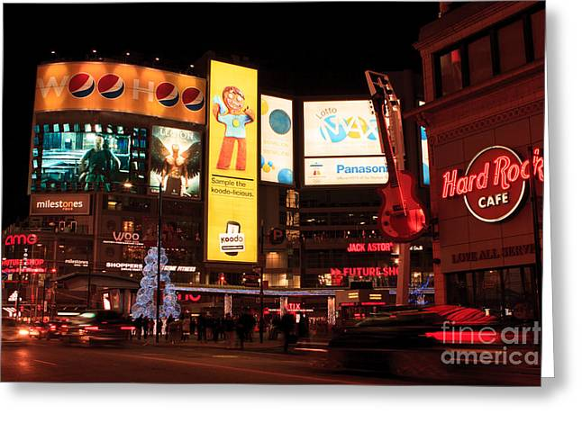 Hard Rock Cafe Building Greeting Cards - Yonge-Dundas Square at night Greeting Card by Igor Kislev