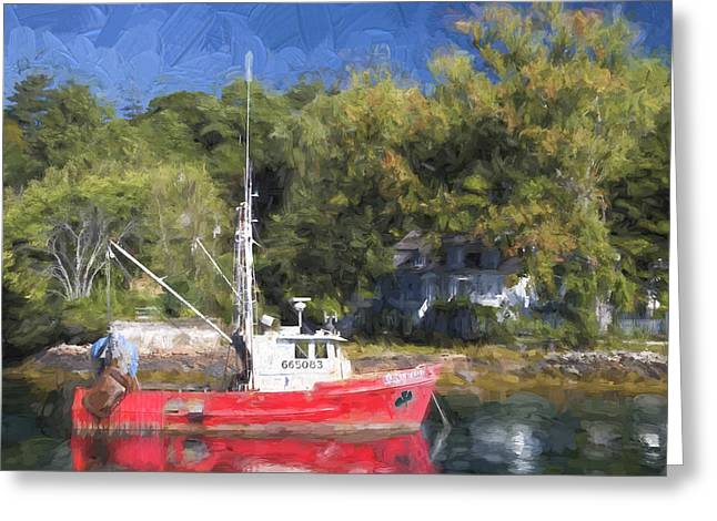 Fishing Boat Reflection Greeting Cards - York Harbor Maine Painterly Effect Greeting Card by Carol Leigh