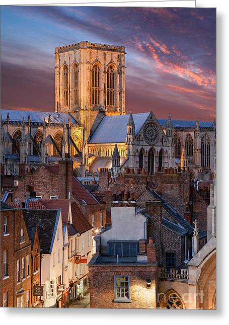 Minster Greeting Cards - York Minster and Stonegate  Greeting Card by John Potter