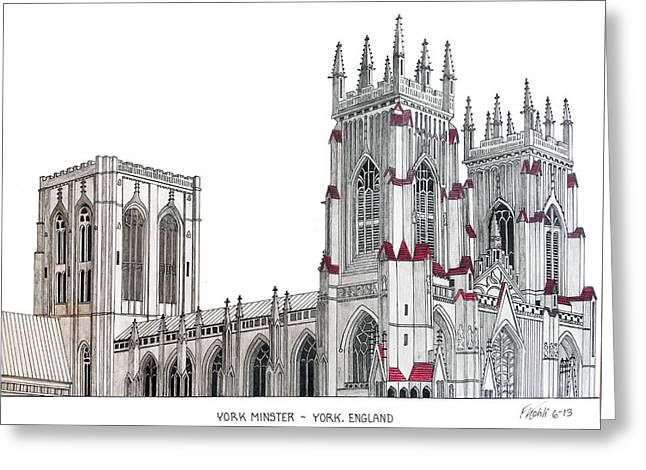 Pen And Ink Framed Prints Greeting Cards - York Minster Greeting Card by Frederic Kohli