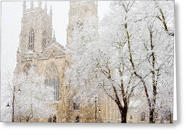Flurry Greeting Cards - York Minster Snow Storm Greeting Card by John Potter