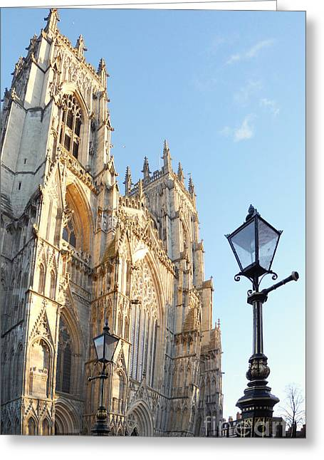 York Minster With Lampost Greeting Card by Neil Finnemore