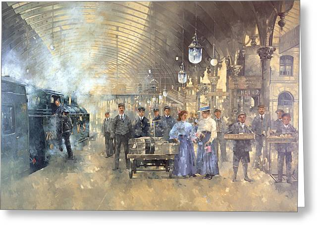 Trolley Greeting Cards - York Railway Station Oil On Canvas Greeting Card by Peter Miller
