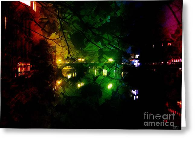 Mound Mixed Media Greeting Cards - York River Night Abstract Greeting Card by Neil Finnemore