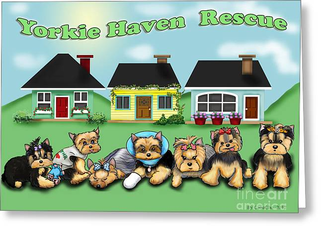 Cartton Greeting Cards - Yorkie Haven Rescue Greeting Card by Catia Cho