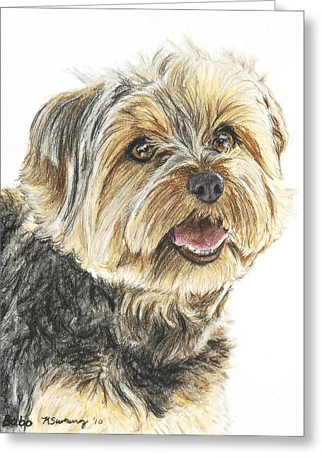 Doggy Pastels Greeting Cards - Yorkie in Color Greeting Card by Kate Sumners