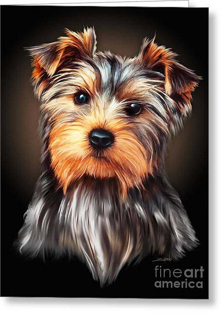 Spano Greeting Cards - Yorkie Portrait by Spano Greeting Card by Michael Spano