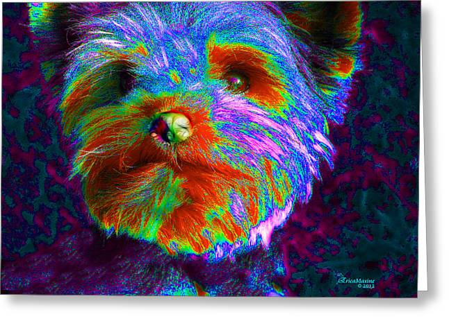 Dogs Digital Greeting Cards - Yorkie With A Coat Of Many Colors Greeting Card by EricaMaxine  Price