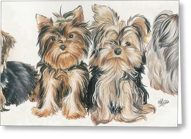 Puppies Mixed Media Greeting Cards - Yorkshire Puppies Greeting Card by Barbara Keith