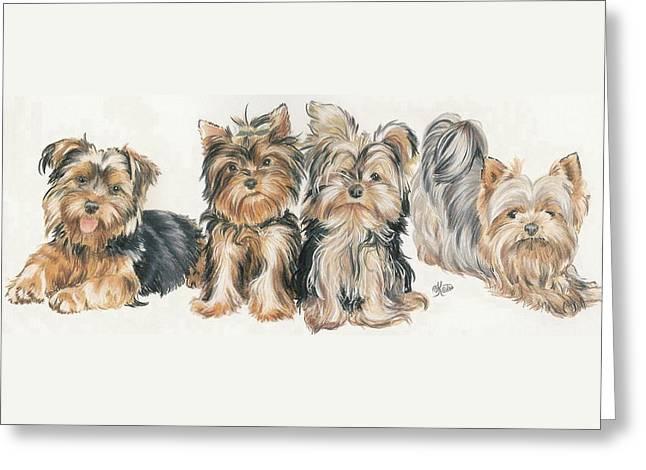 Puppies Mixed Media Greeting Cards - Yorkshire Puppies Greeting Card by Barbara Keith