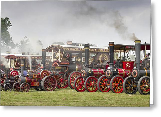 Rally Greeting Cards - Yorkshire Steam and Flat Caps Panorama Greeting Card by John Potter
