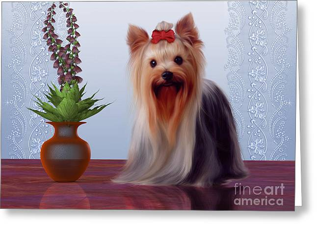 Living Beings Greeting Cards - Yorkshire Terrier Greeting Card by Corey Ford