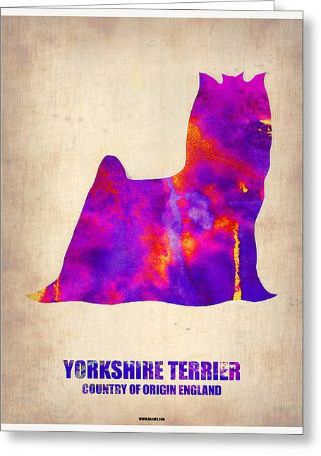 Puppies Digital Art Greeting Cards - Yorkshire Terrier Poster Greeting Card by Naxart Studio
