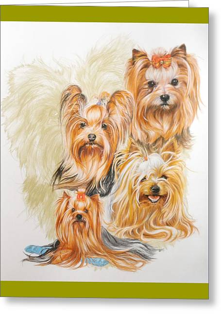 Toy Dog Drawings Greeting Cards - Yorkshire Terrier w/Ghost Greeting Card by Barbara Keith