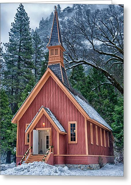 Scenic Greeting Cards - Yosemite Church Greeting Card by Cat Connor