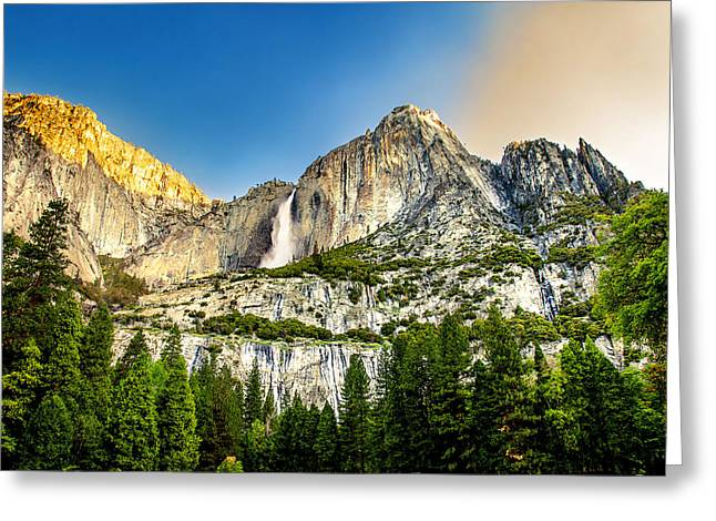 Blue Green Water Photographs Greeting Cards - Yosemite Falls  Greeting Card by Az Jackson