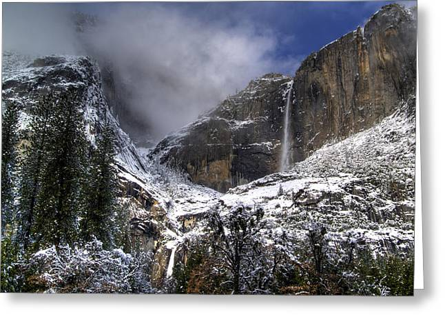 Winter Storm Greeting Cards - Yosemite Falls Greeting Card by Bill Gallagher