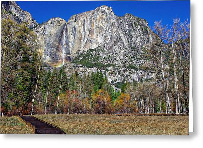 S Landscape Photography Greeting Cards - Yosemite Falls from Cooks Meadow Greeting Card by Scott McGuire