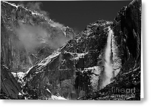 Bill Gallagher Greeting Cards - Yosemite Falls in Black and White Greeting Card by Bill Gallagher