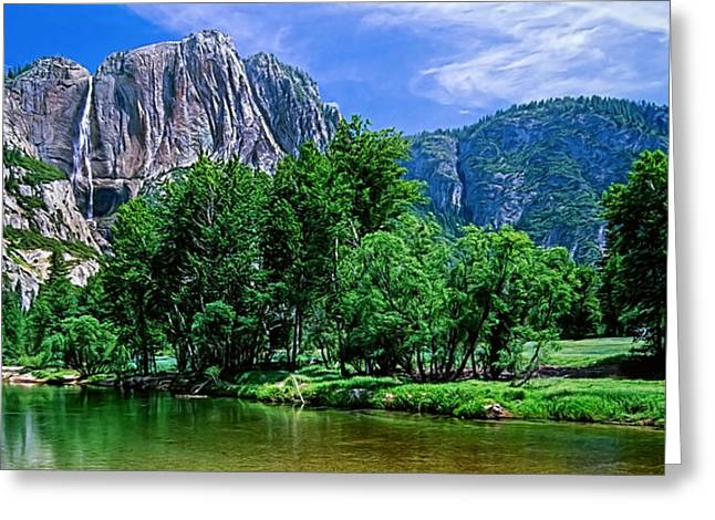 Recently Sold -  - Mountain Valley Greeting Cards - Yosemite Falls in Summer Greeting Card by Tim Dahl