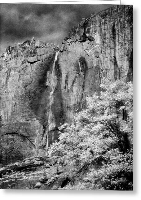 Red Granite Greeting Cards - Yosemite Falls Greeting Card by Mark Greenberg