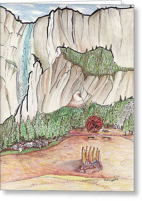 Fall Scenes Drawings Greeting Cards - Yosemite Falls Greeting Card by Merrily McCarthy