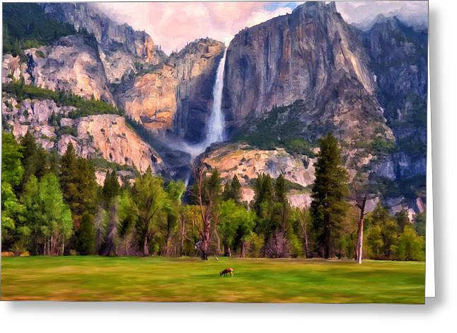 National Paintings Greeting Cards - Yosemite Falls Greeting Card by Michael Pickett