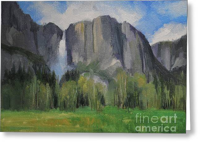 Yosemite Falls Spring Meadow  8 X 10 Greeting Card by Karen Winters