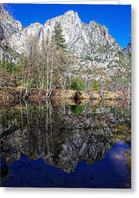 Mariposa County Greeting Cards - Yosemite Falls Winter Reflection Greeting Card by Scott McGuire