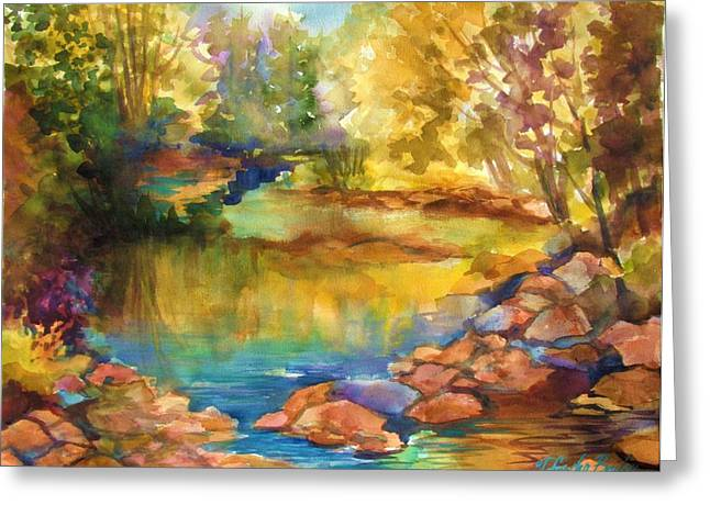 Therese Fowler-bailey Greeting Cards - Yosemite Golden Trees on Still Waters Greeting Card by Therese Fowler-Bailey