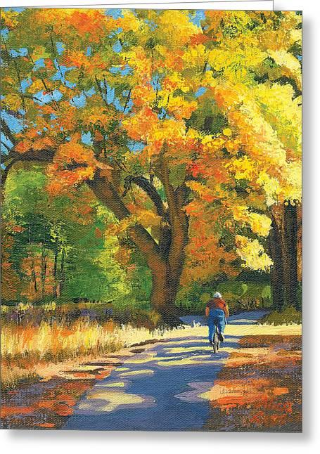 Yosemite Paintings Greeting Cards - Yosemite in Autumn Greeting Card by Alice Leggett