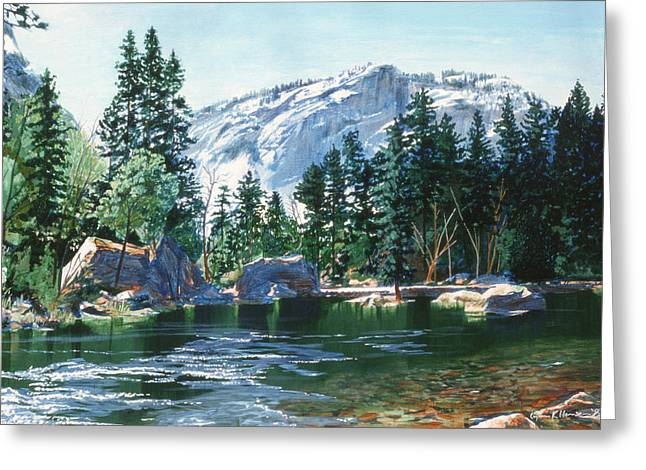 Half Dome Paintings Greeting Cards - Yosemite Mirror Lake Greeting Card by Lynn Hansen