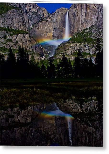 Yosemite Greeting Cards - Yosemite Moonbow Greeting Card by John McGraw