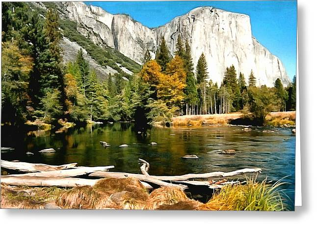 Nature Scene Paintings Greeting Cards - Half Dome Yosemite National Park Greeting Card by Barbara Snyder