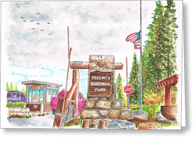 Scenic Buildings Drawings Greeting Cards - Yosemite National Park CA-Tioga Pass Entrance Greeting Card by Carlos G Groppa