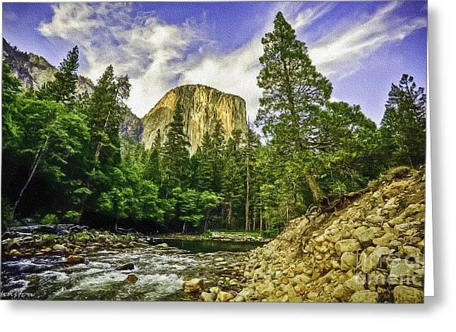 Yosemite National Park El Capitan Greeting Card by Bob and Nadine Johnston