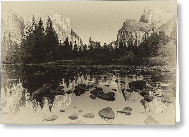Cathedral Rock Photographs Greeting Cards - Yosemite National Park Valley View Antique Print   Greeting Card by Scott McGuire