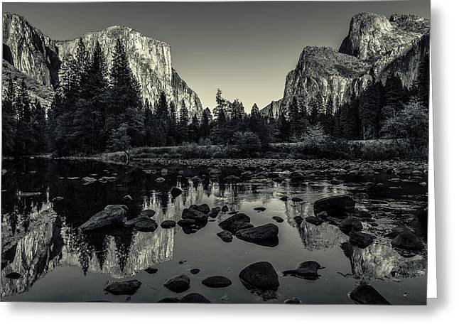 Cathedral Rock Greeting Cards - Yosemite National Park Valley View Reflection Greeting Card by Scott McGuire