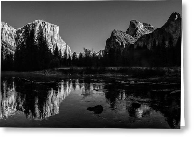 Cathedral Rock Greeting Cards - Yosemite National Park Valley View Winterscape Greeting Card by Scott McGuire
