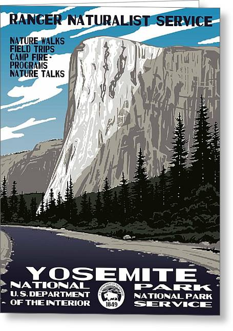 Wolf Creek Greeting Cards - Yosemite National Park Vintage Poster 2 Greeting Card by Eric Glaser