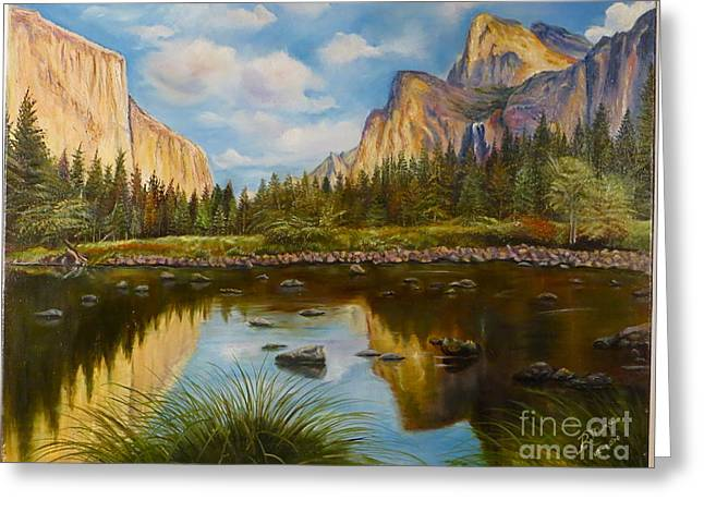 Reflections Of Sun In Water Paintings Greeting Cards - Yosemite Greeting Card by Rosario Meza