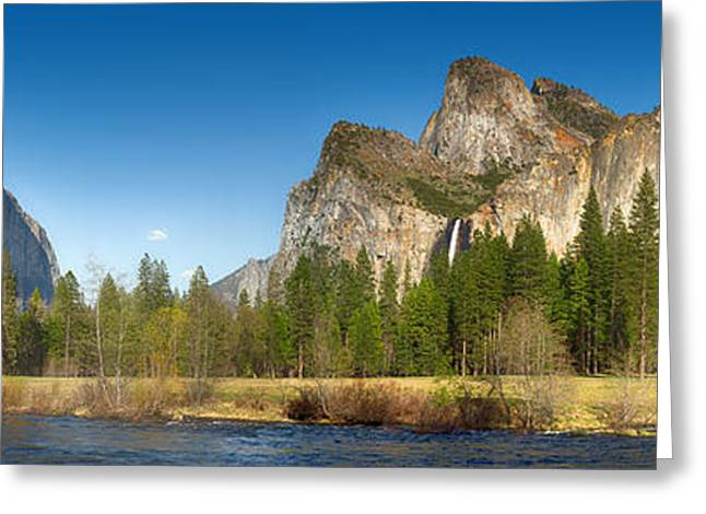 Green Hills Greeting Cards - Yosemite valley and merced river Greeting Card by Jane Rix